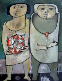 Couple with Red Flowers